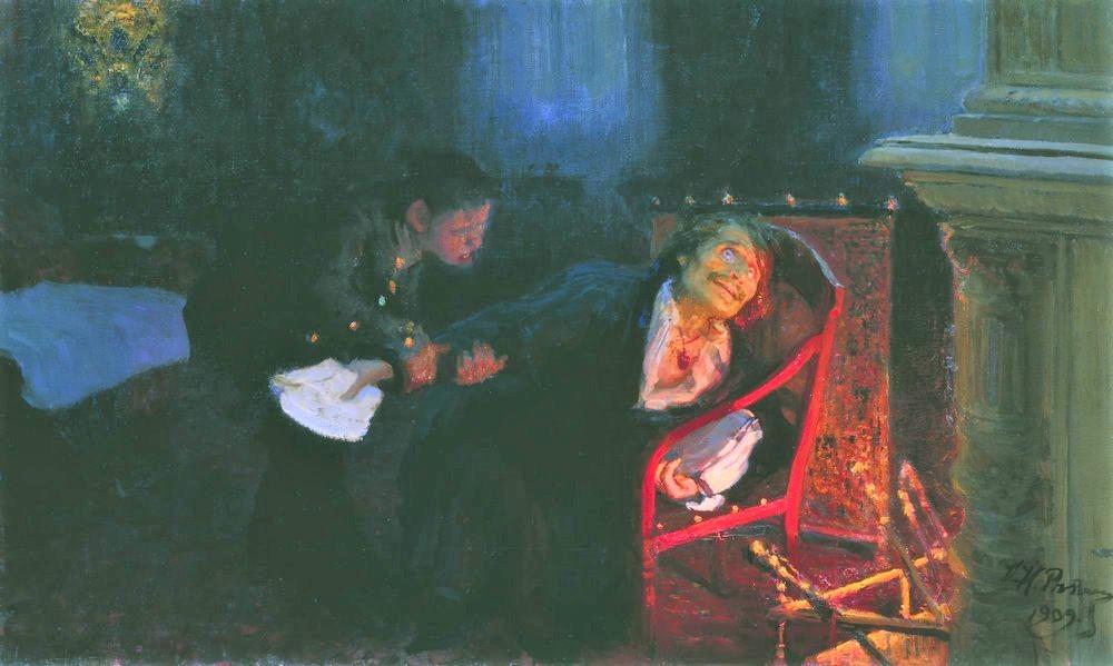 "Painting by artist N. Repin ""Gogol Burns the Manuscript of Dead Souls"", 1909."