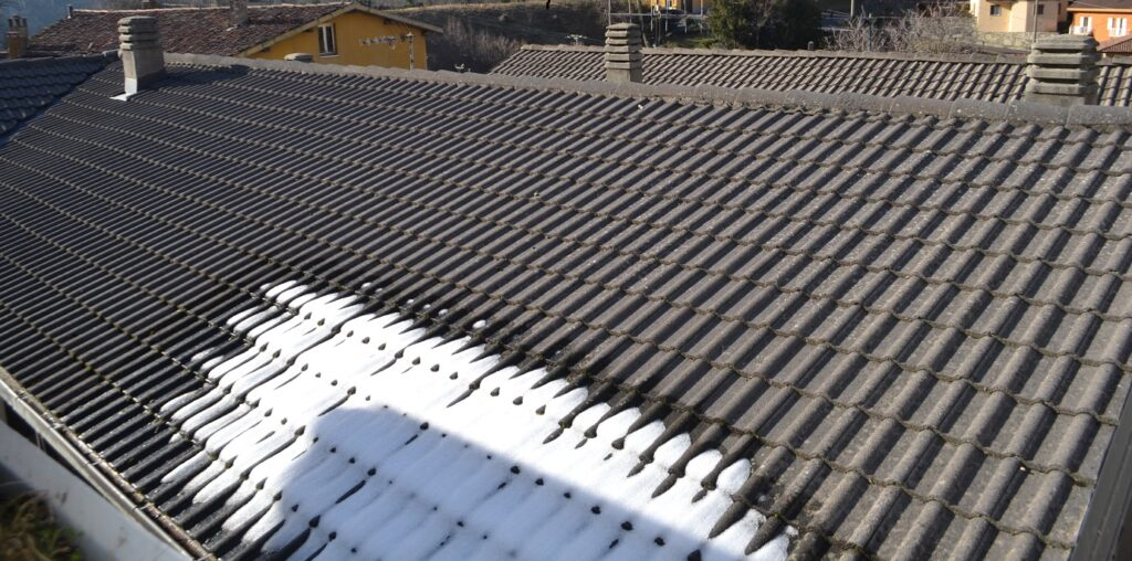 The snow spot left on the roof