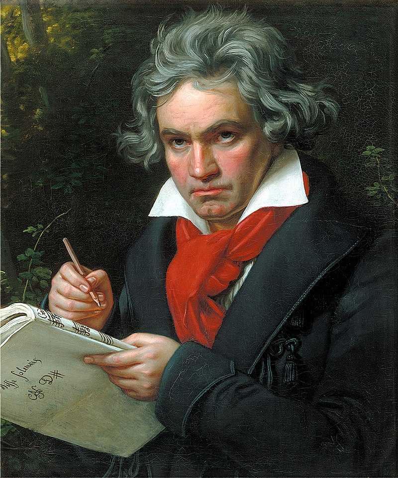 Portrait of Beethoven with score Missa Solemnis (Solemn Mass) by Karl Stieler, 1820. The painting, executed in an idealized manner as a reflection of the idelistic spirit of the new era, still has a significant influence on the image of Beethoven.
