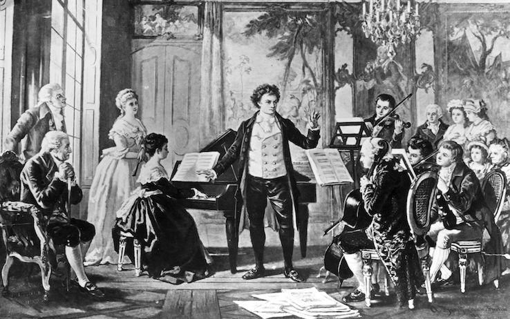 Немецкий композитор Людвиг ван Бетховен дирижирует Разовмовским Квартетом, картина художника Боркмана