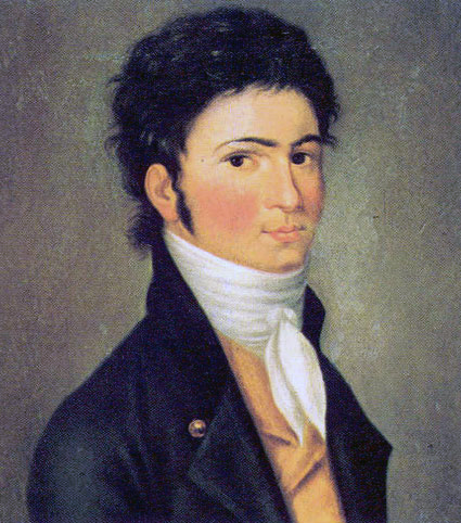 Портрет Бетховена в 30 лет, картина Карла Троготт Риделя, 1801 год