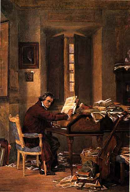 Painting by Karl Schlesser: Beethoven at work at home in 1811.