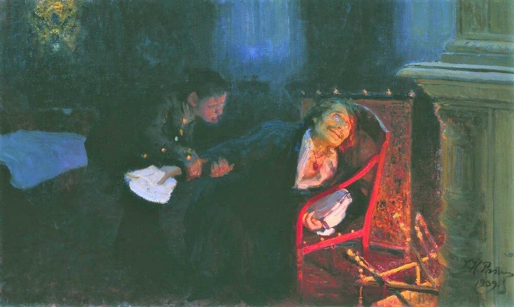 """Картина художника Н.Репина """"Гоголь сжигает рукопись """"Мертвых душ"""", 1909."""