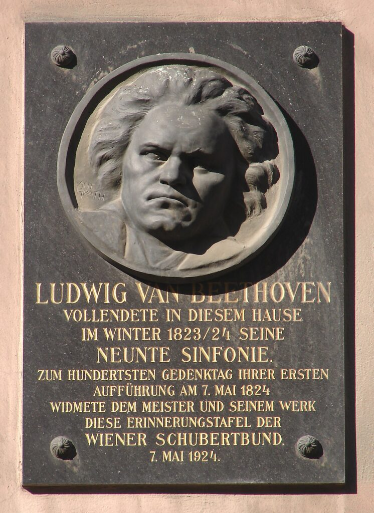 Memorial plaque to Beethoven in Vienna on the house where he lived and composed the Ninth Symphony.