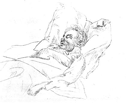 Beethoven on his deathbed (drawing by Joseph Eduard Telcher) January 1, 1827