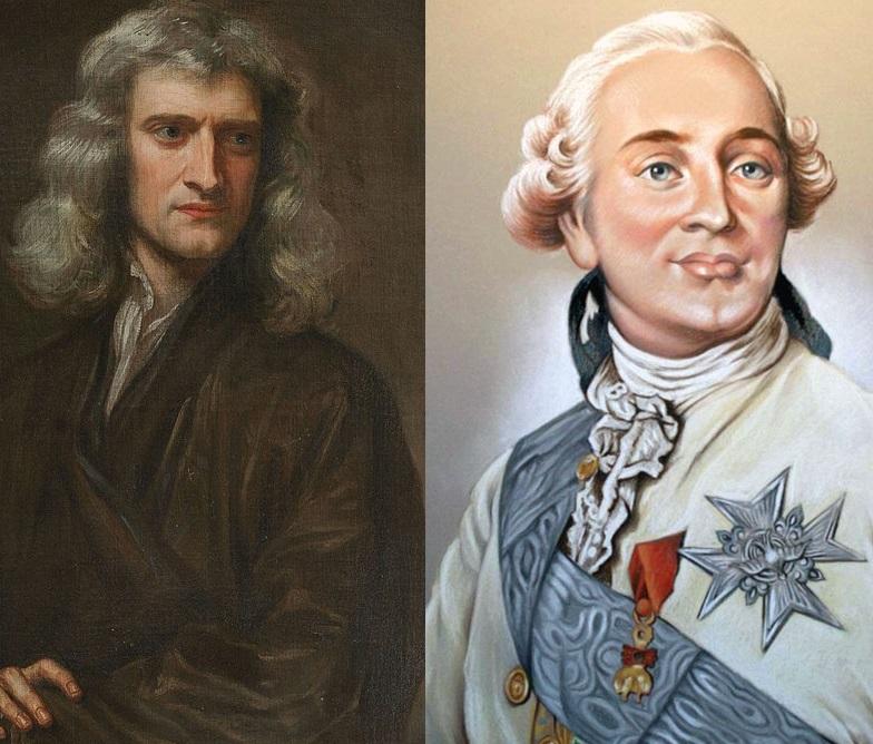 Портрет Исаака Ньютона и образ французского короля Луи XVI